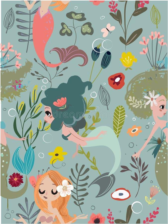 Установите с русалками шаржа бесплатная иллюстрация