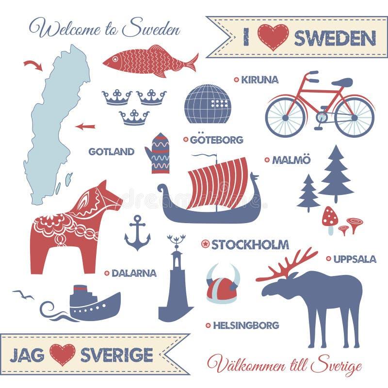 Установите с символами и картой Швеции бесплатная иллюстрация