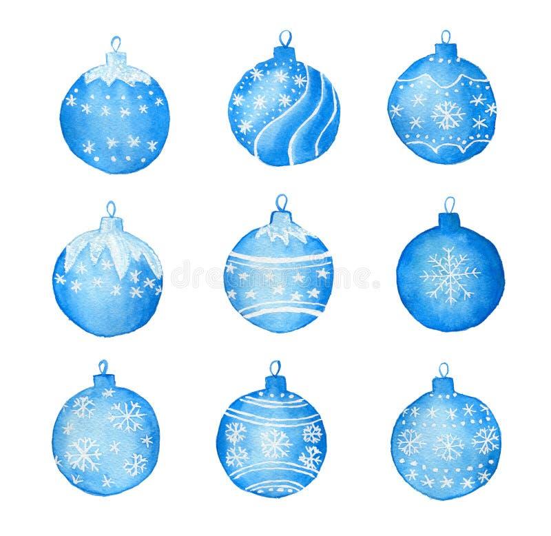 Установите с шариками рождества акварели бесплатная иллюстрация