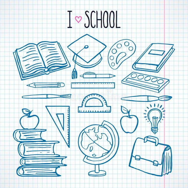 Установите с школьными принадлежностями эскиза иллюстрация вектора
