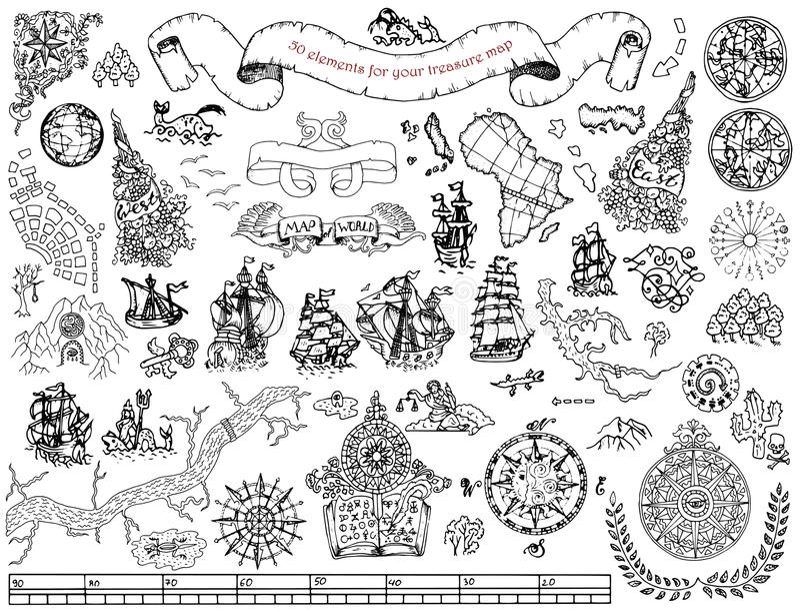 Установите с элементами нарисованными рукой для карты поиска сокровищ и пирата на белизне иллюстрация штока