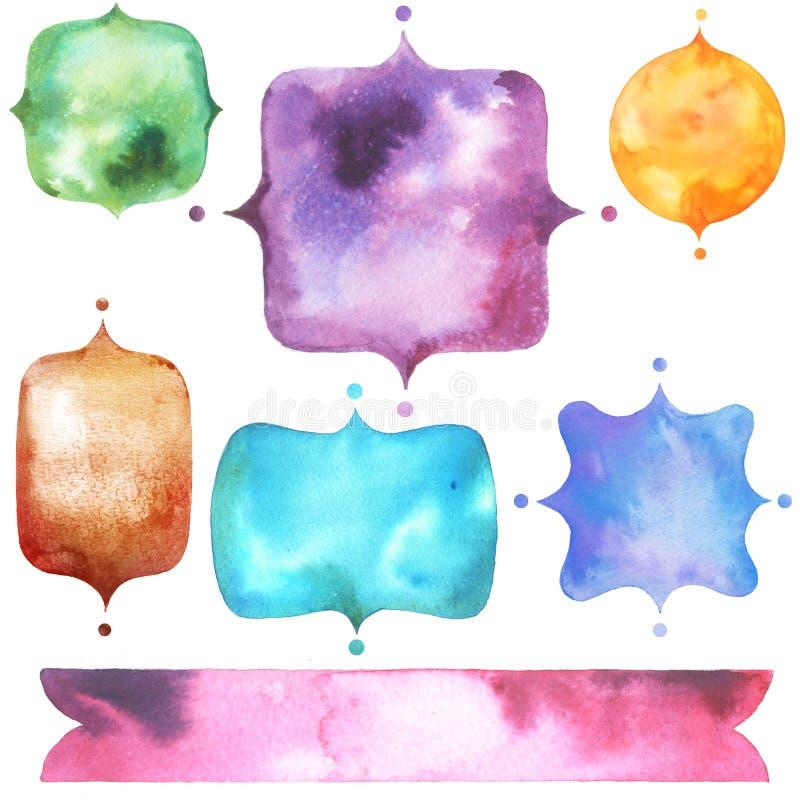 Установите с яркими ярлыками акварели бесплатная иллюстрация