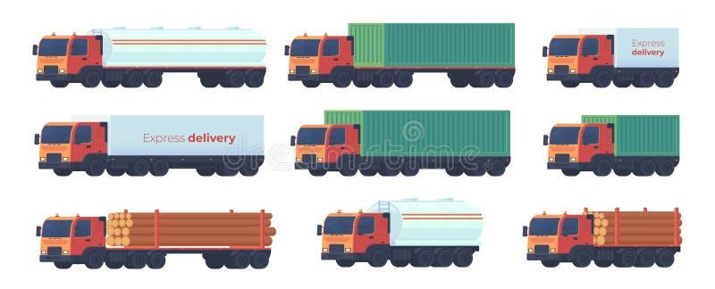 Установите тележки грузовика для компании снабжения для сухопутных перевозок бесплатная иллюстрация