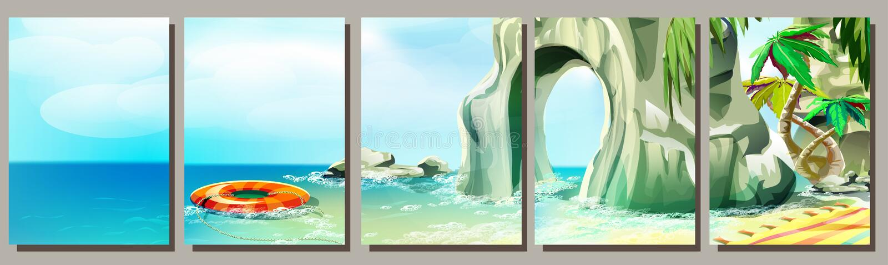 Установите тропических предпосылок пляжа, дизайна лета, чертежа вектора иллюстрация штока