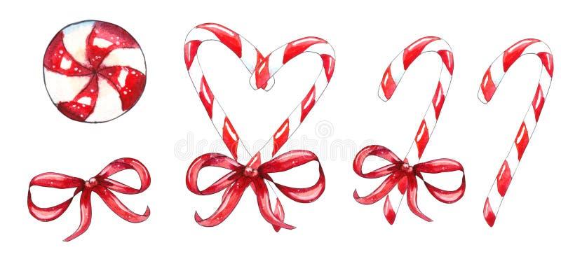 Установите тросточки конфеты рождества бесплатная иллюстрация