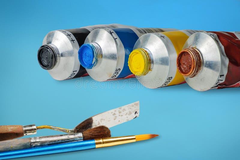 Установите трубок краски масла и крася инструментов стоковые фотографии rf