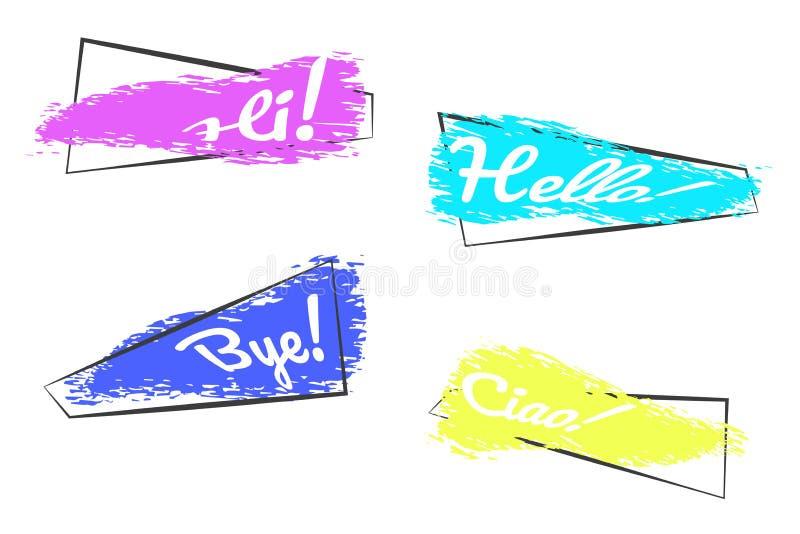 Установите ультрамодных знамен в рамке на белой предпосылке Покрашенные щетки grunge в рамке с текстом здравствуйте! Chao! Пока!  иллюстрация штока