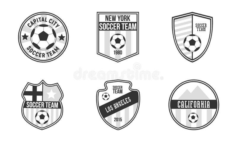 Установите 6 уникальных эмблем футбола Набор шаблона логотипов футбол иллюстрация вектора