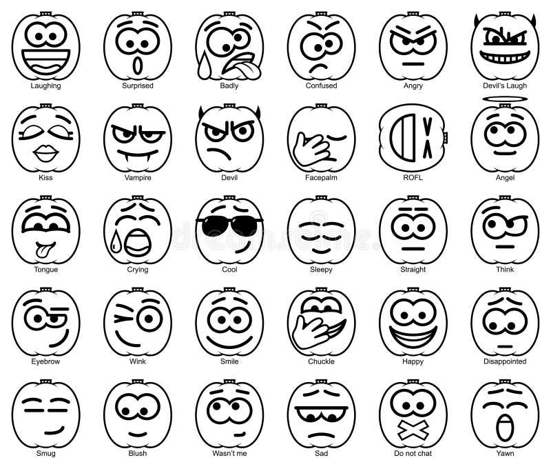 Установите улыбки хеллоуина вектора иллюстрация вектора
