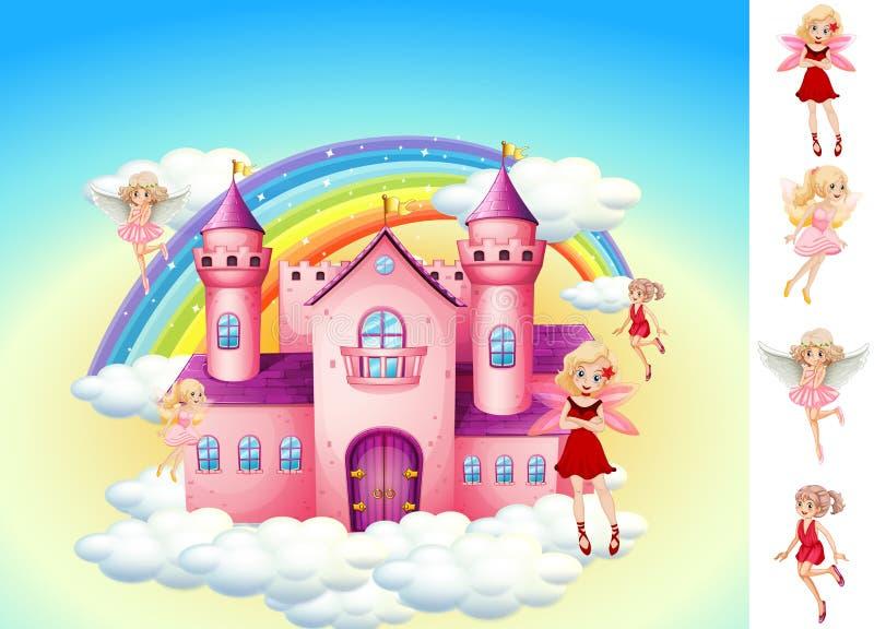 Установите фей в замке неба иллюстрация штока