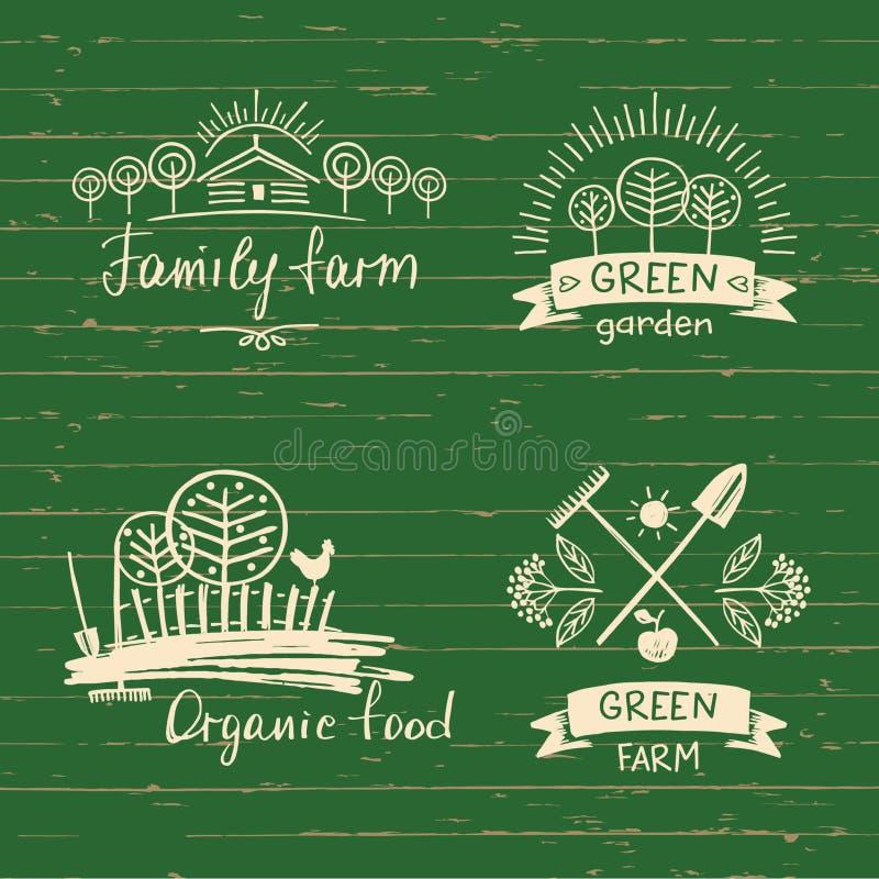 Установите ферму семьи логотипов Натуральные продукты логотипа Элемент нарисованный рукой иллюстрация штока