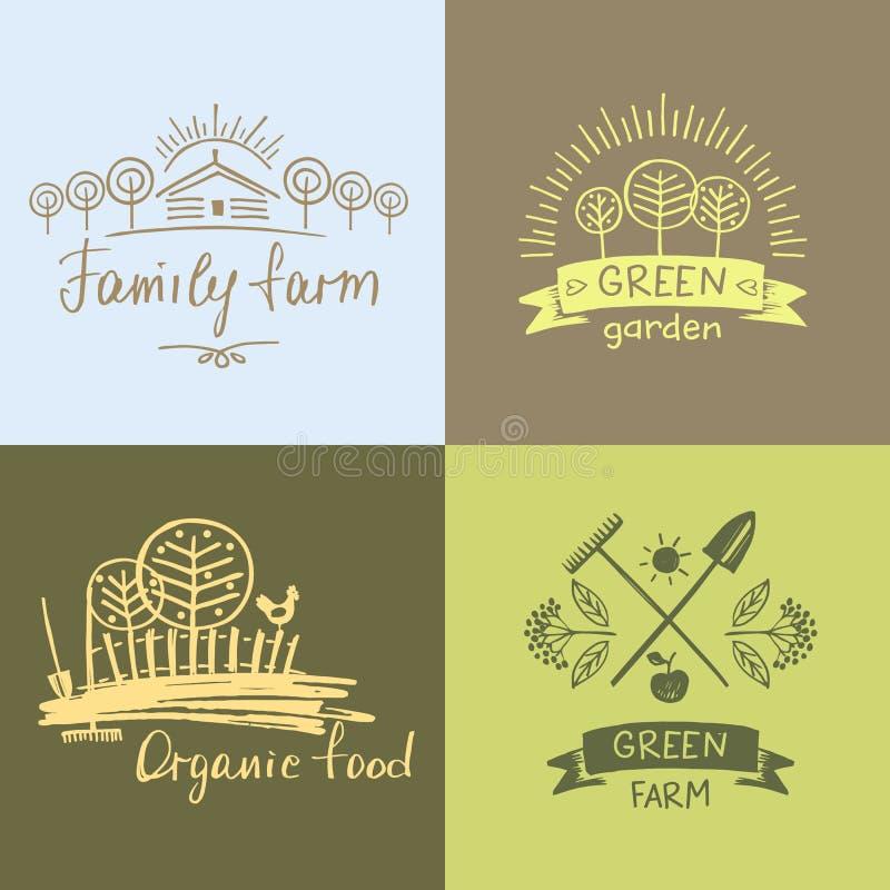 Установите ферму семьи логотипов Натуральные продукты логотипа Элемент нарисованный рукой бесплатная иллюстрация
