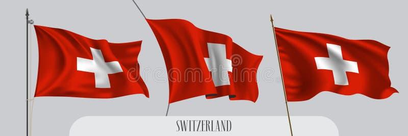 Установите флага Швейцарии развевая на изолированной иллюстрации вектора предпосылки бесплатная иллюстрация