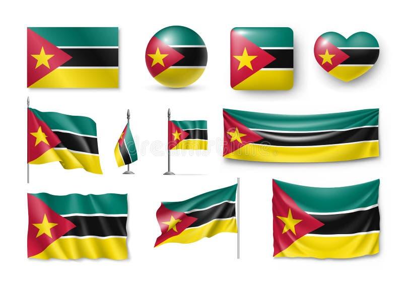 Установите флаги Мозамбика, знамена, знамена, символы, реалистический значок иллюстрация вектора