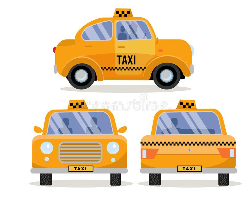 Установите 3 фронт, задняя часть и взгляды со стороны автомобиля такси Желтый смешной милый корабль города, клеймя такси Собрание иллюстрация штока