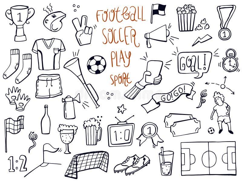 Установите футбола, спорта, doodles значка футбола Нарисованная рука сделала эскиз к r бесплатная иллюстрация