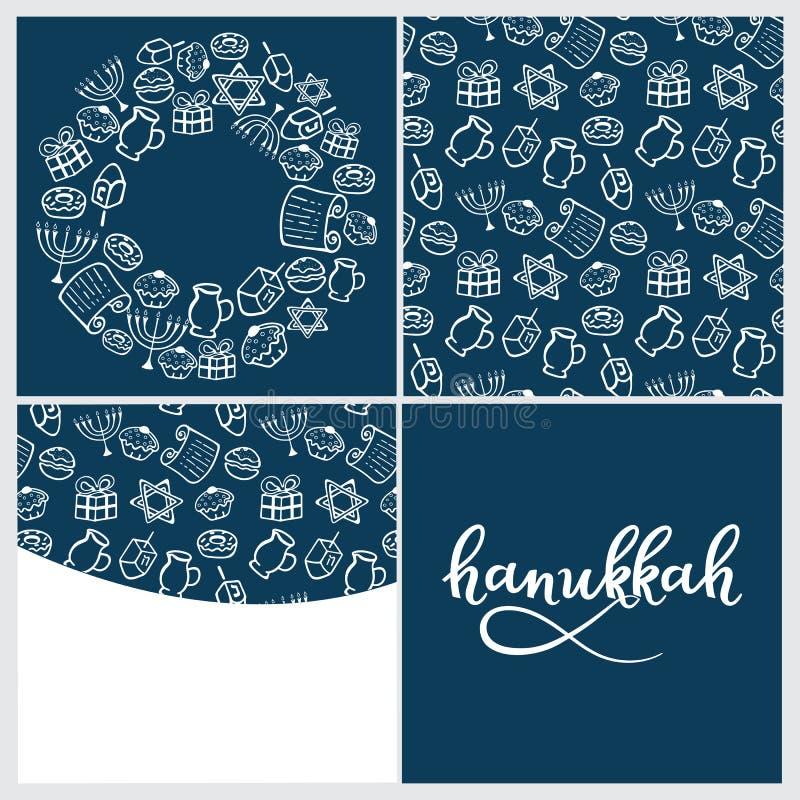 Установите Хануки menorah, dreidel, масло, Torah, донут Круглая рамка, безшовная картина в стиле doodle, литерности руки иллюстрация вектора