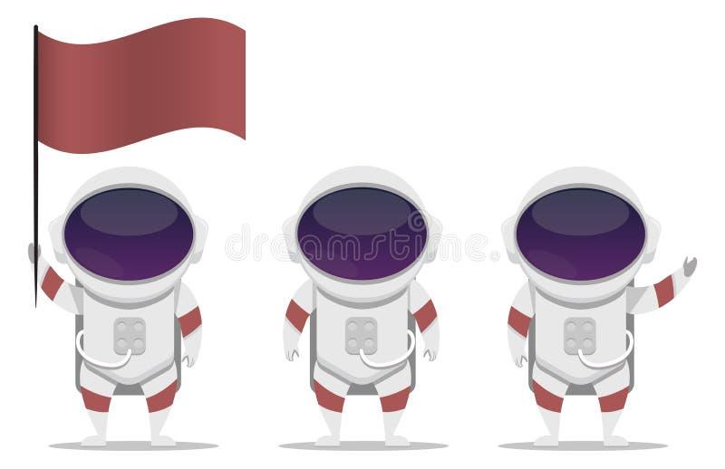 Установите характера вектора астронавта стоковые изображения