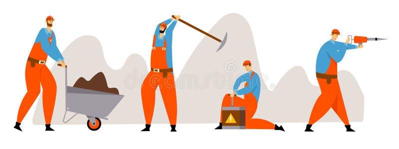 Установите характеров горнорабочего, угля или минирования минералов, работников в форме с Jackhammer, тачкой, обушком иллюстрация вектора