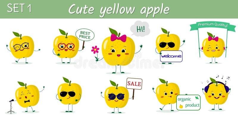 Установите 10 характеров яблок милого kawaii желтых в различных представлениях и аксессуаров в стиле мультфильма r иллюстрация вектора