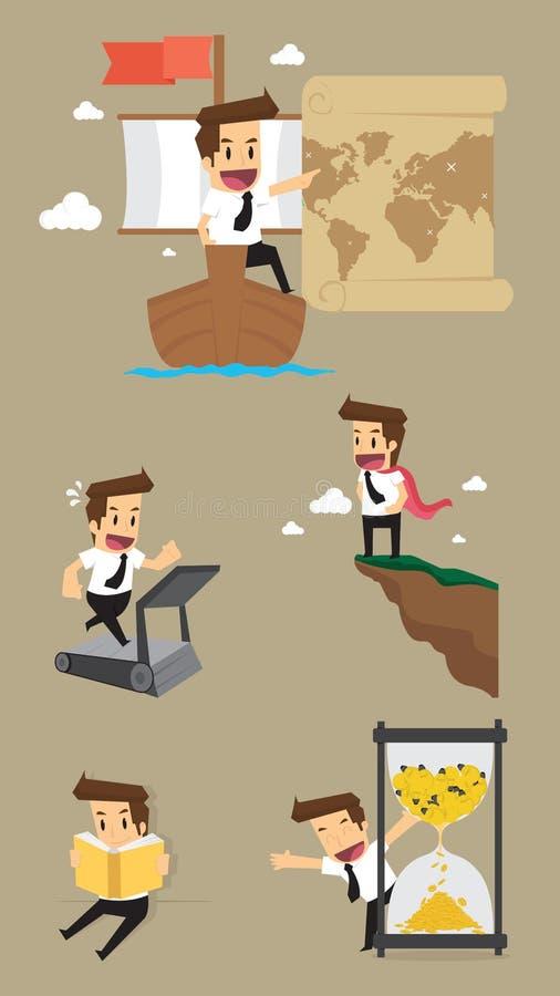 Установите, характер бизнесмена бесплатная иллюстрация