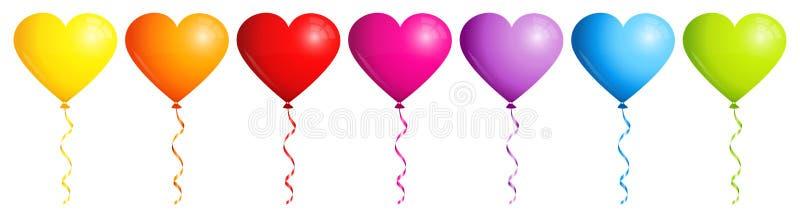 Установите цвета радуги 7 сердец баллонов иллюстрация вектора