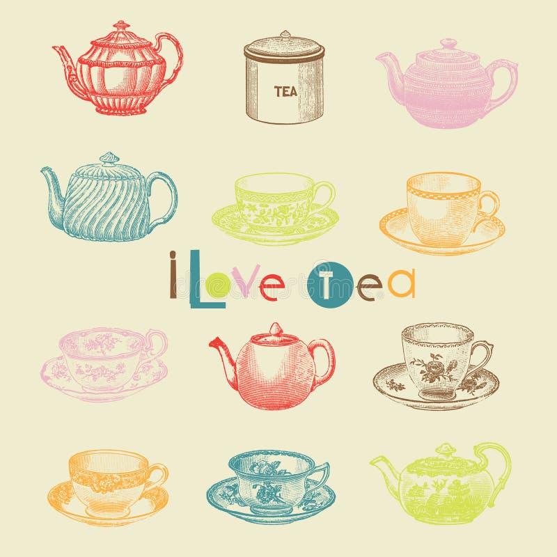 установите чай иллюстрация вектора