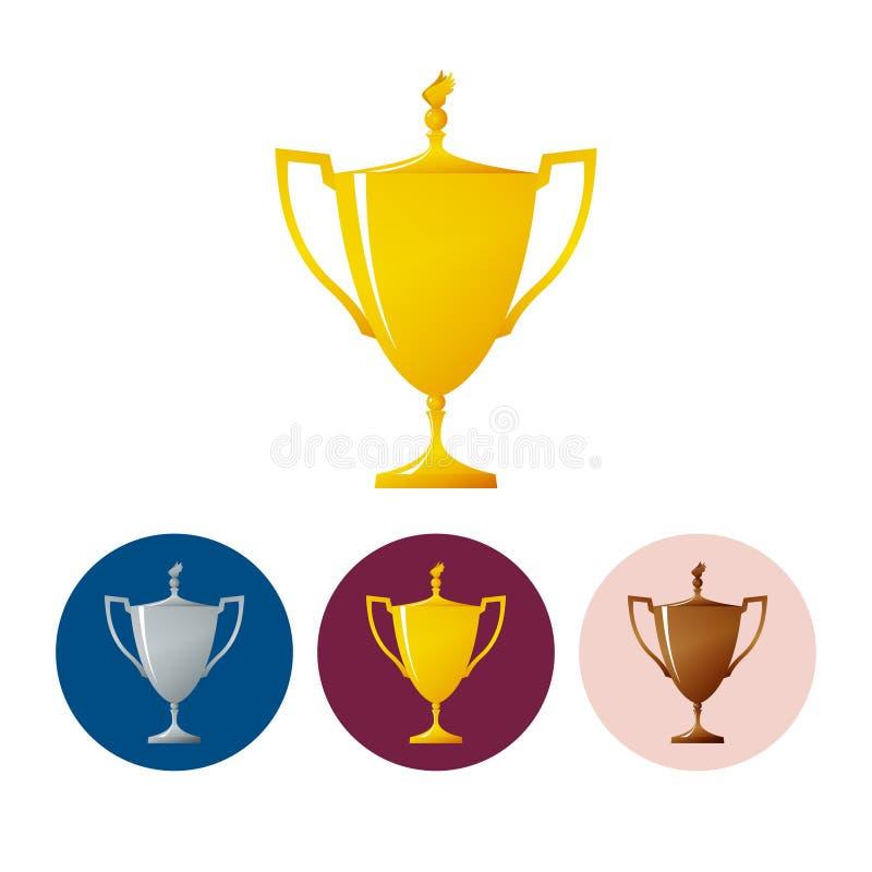 Установите чашки значков победителя, чашки трофея значка иллюстрация вектора