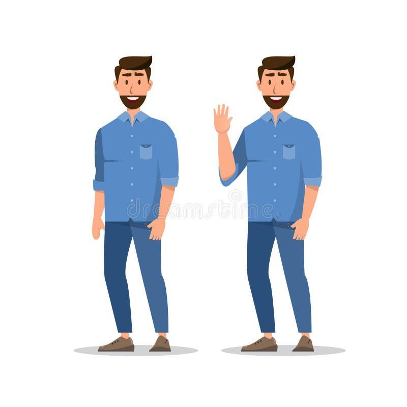Установите человека характера бородатого, смешного парня в случайных одеждах, показывая жестами иллюстрация вектора