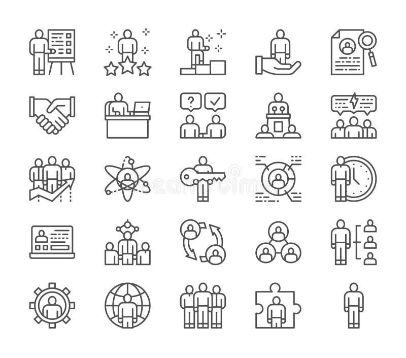 Установите человеческих ресурсов выровняйте значки Работник, фрилансер, рекрутство и больше иллюстрация вектора