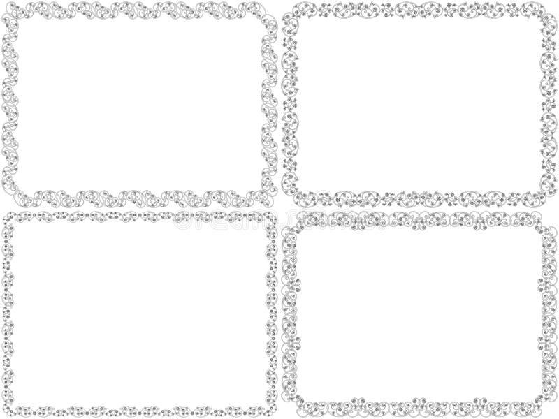 Установите 4 черных декоративных рамок иллюстрация вектора