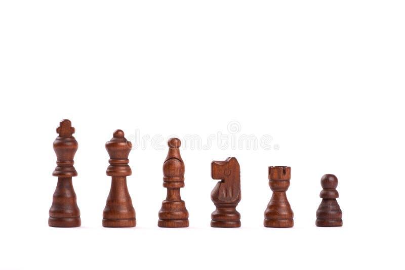 Установите черных деревянных изолированных диаграмм шахмат в ряд на белой предпосылке стоковая фотография