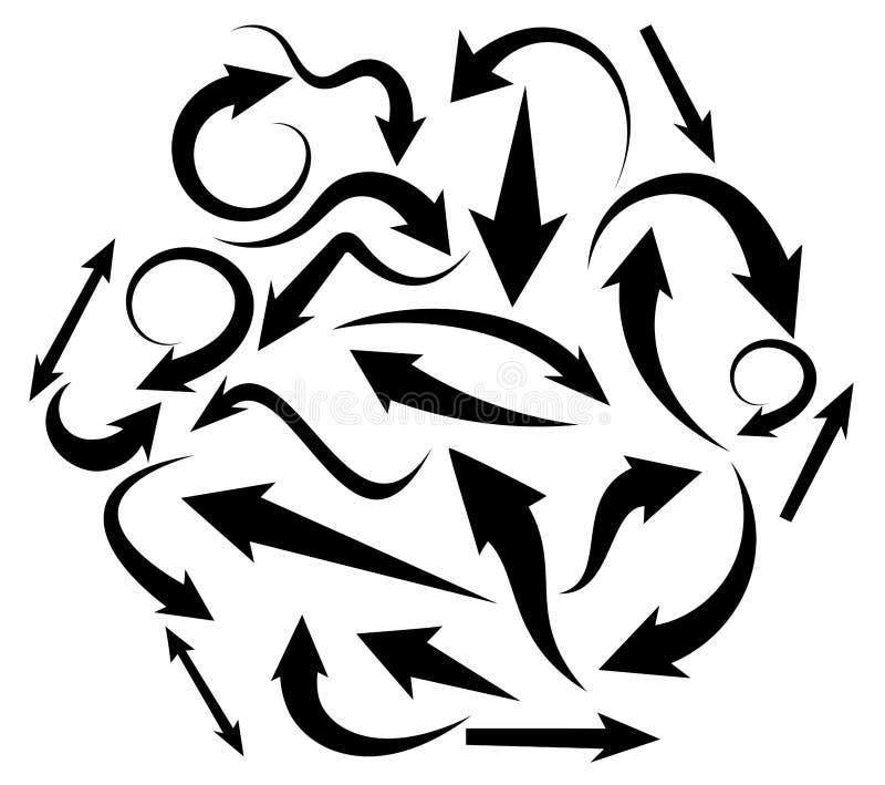 Установите черных & изогнутых стрелок в различных форме и направлении иллюстрация вектора