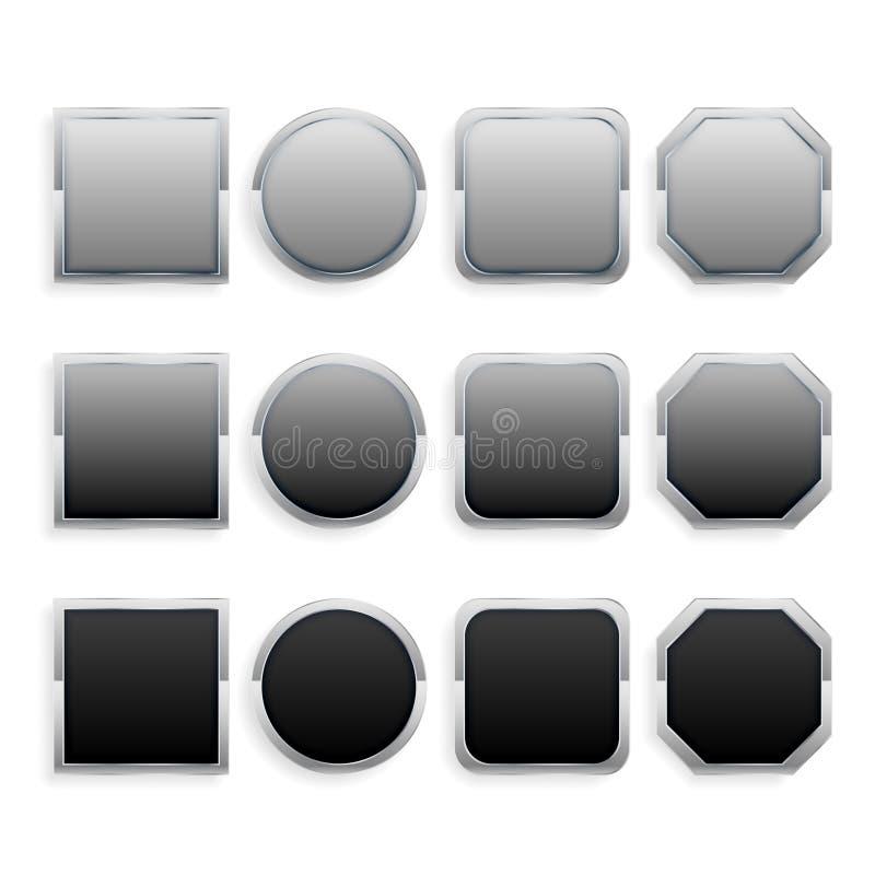 Установите черных и серых кнопок рамки металла иллюстрация штока
