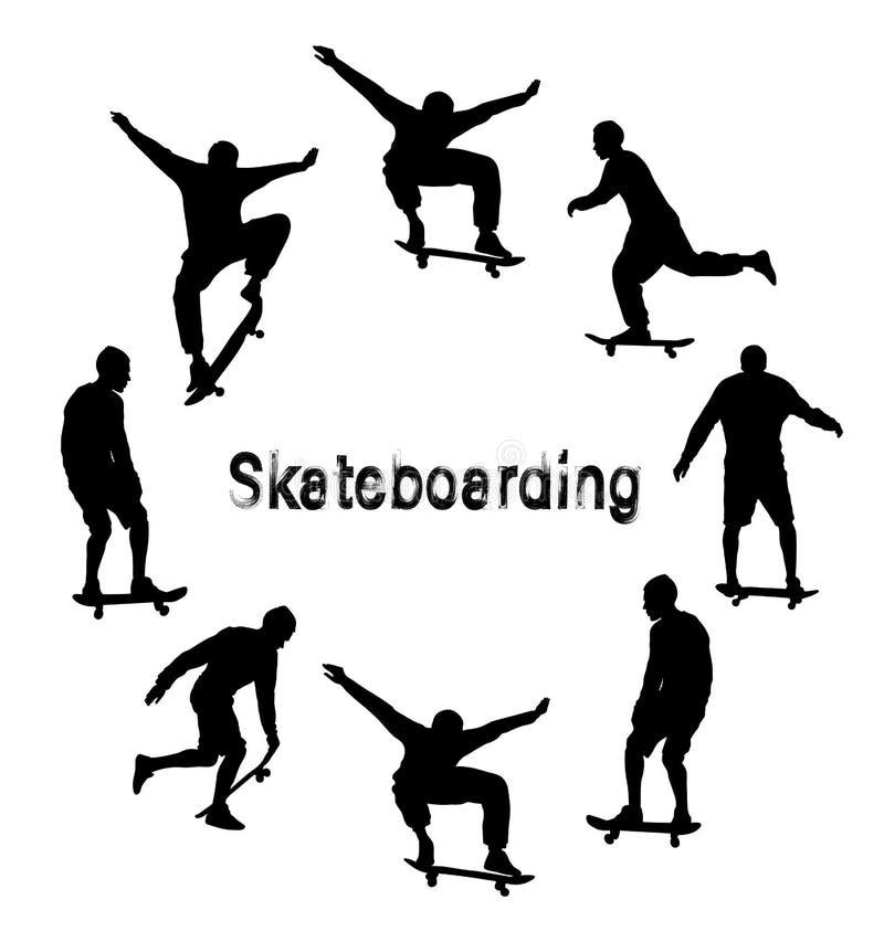 Установите черных силуэтов скейтбордиста Текст Grunge текстурированный стилем иллюстрация вектора