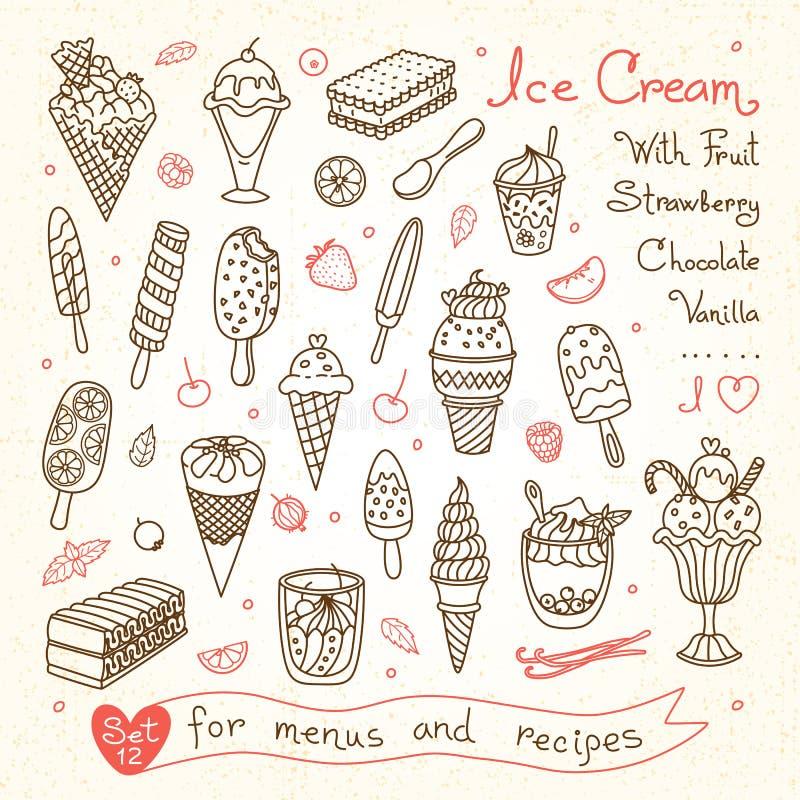 Установите чертежи мороженого для меню дизайна иллюстрация штока
