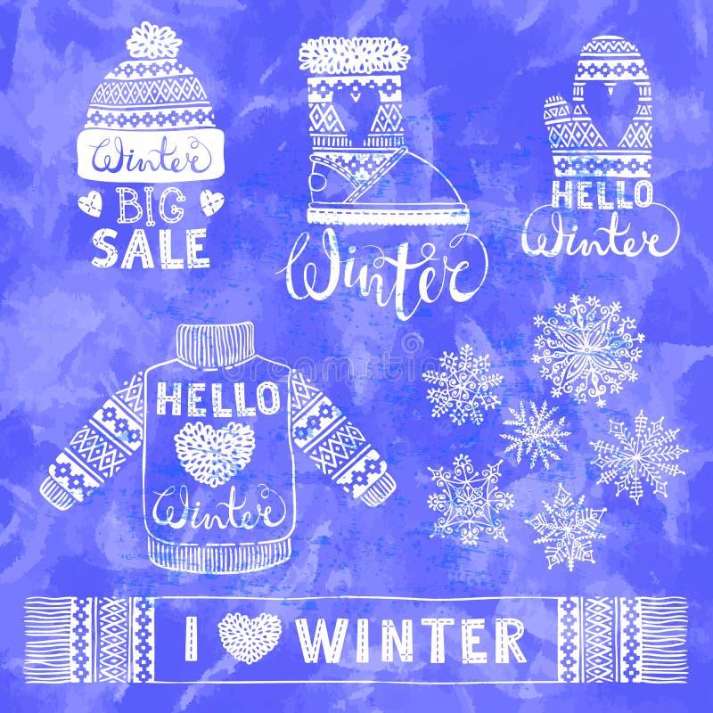 Установите чертежи связал шерстяные одежду и обувь Свитер, шляпа, mitten, ботинок, шарф с картинами, снежинками Зима бесплатная иллюстрация