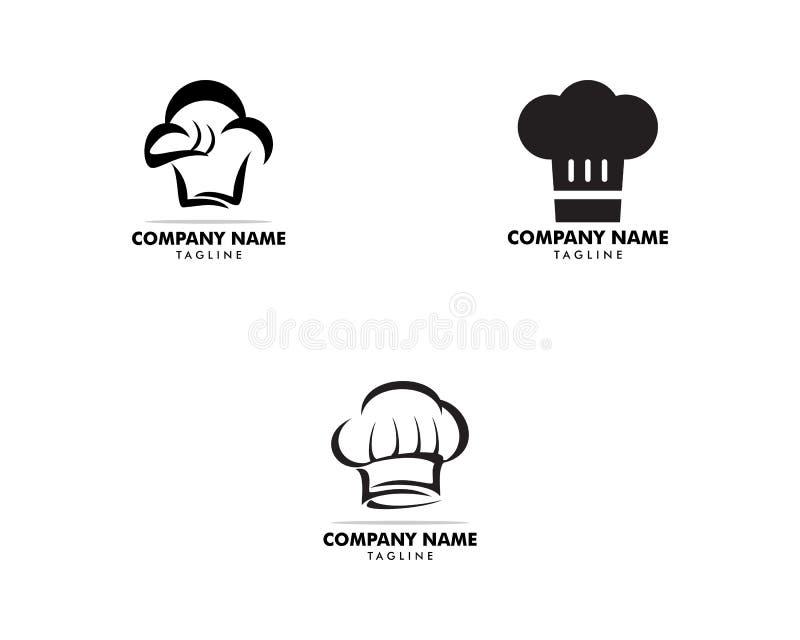 Установите шаблона дизайна логотипа шляпы шеф-повара бесплатная иллюстрация