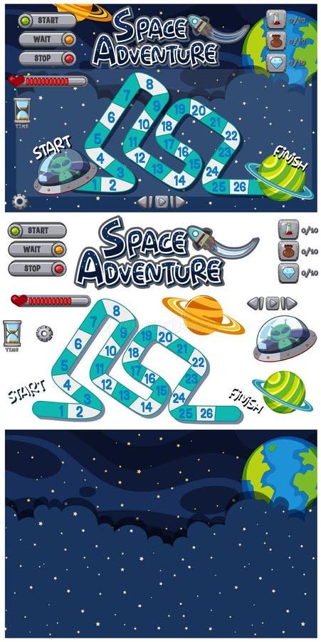Установите шаблона игры со звездами и чужеземцами вечером бесплатная иллюстрация