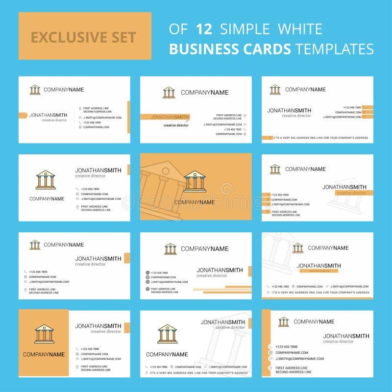 Установите шаблона карты Busienss 12 вилл творческого Предпосылка Editable творческие логотип и карта посещения иллюстрация вектора