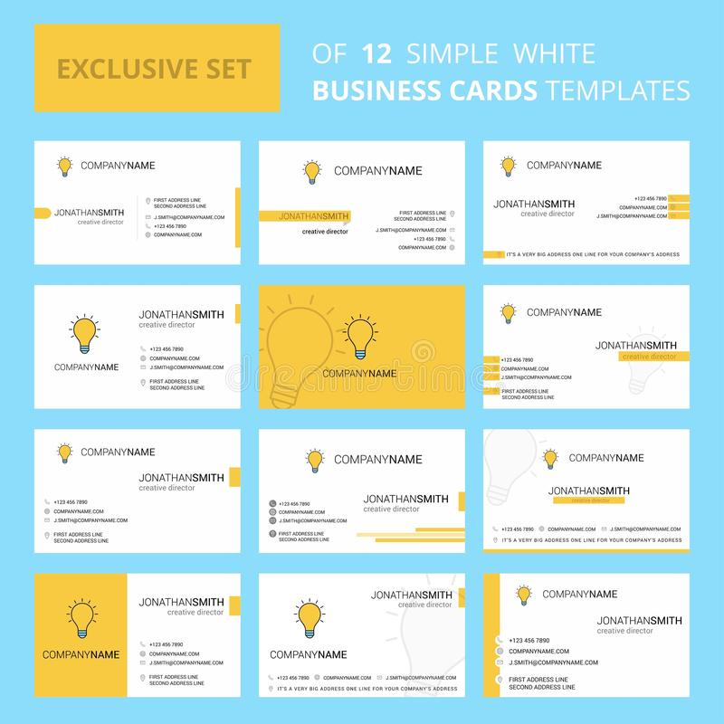Установите шаблона карты Busienss 12 идей творческого Предпосылка Editable творческие логотип и карта посещения иллюстрация штока