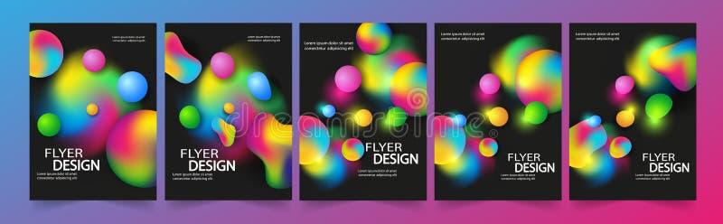 Установите шаблона летчика или корпоративного дизайна знамени с пузырями, плана шаблона брошюры для годового отчета или дизайна д иллюстрация вектора