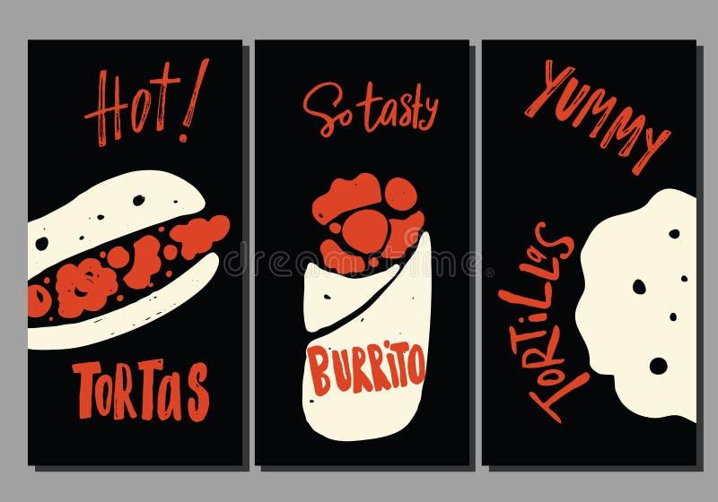 Установите шаблона летчиков вектора с иллюстрацией различной мексиканской еды улицы Tortas, буррито, tortilla бесплатная иллюстрация