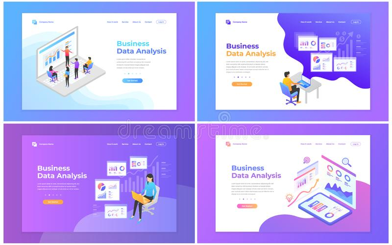 Установите шаблонов дизайна интернет-страницы для анализа данных, цифрового маркетинга, сыгранности, стратегии бизнеса и анализа  иллюстрация штока