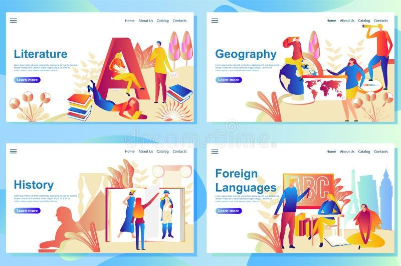 Установите шаблонов дизайна интернет-страницы для вопроса в школе Литература, землеведение, история и иностранные языки иллюстрация вектора