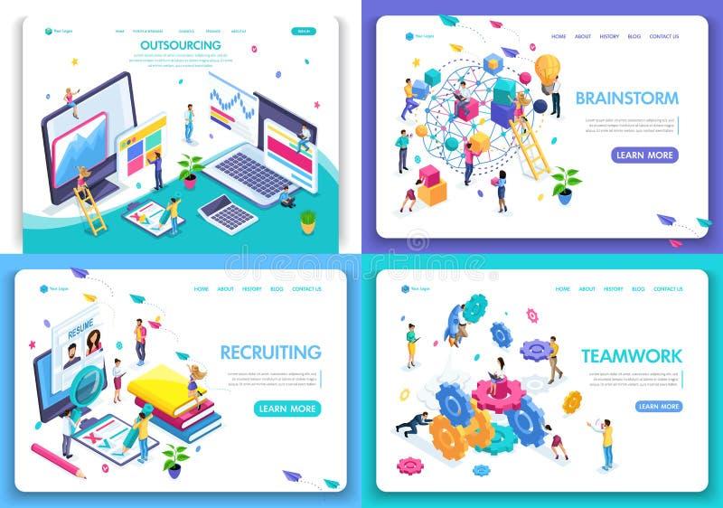Установите шаблонов дизайна интернет-страницы для дела, бредовой мысли, сыгранности, завербовывая, аутсорсинга Концепции иллюстра иллюстрация штока