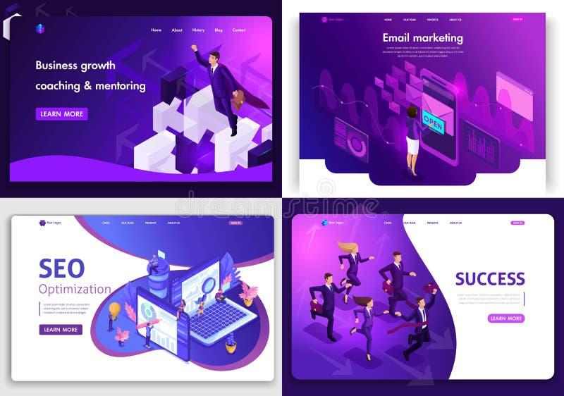 Установите шаблонов дизайна интернет-страницы для дела, цифрового маркетинга, succes, роста дела Концепции иллюстрации вектора дл иллюстрация штока