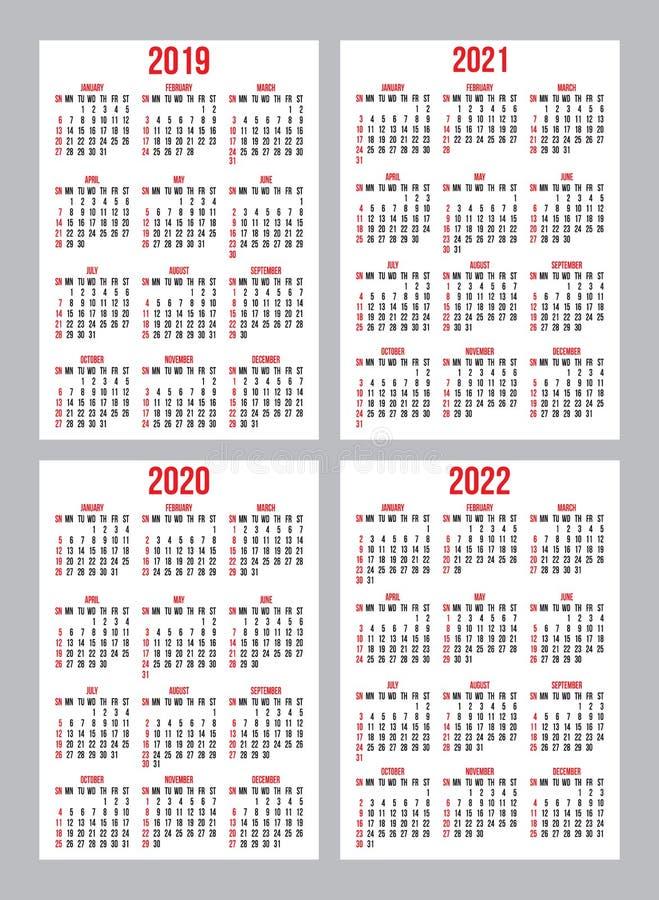 Установите шаблонов решетки календаря вектора для дизайна календаря кармана иллюстрация вектора