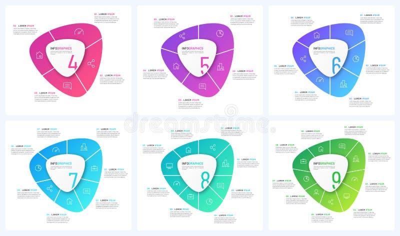 Установите шаблонов циркуляра вектора infographic в форме абстрактных форм иллюстрация вектора