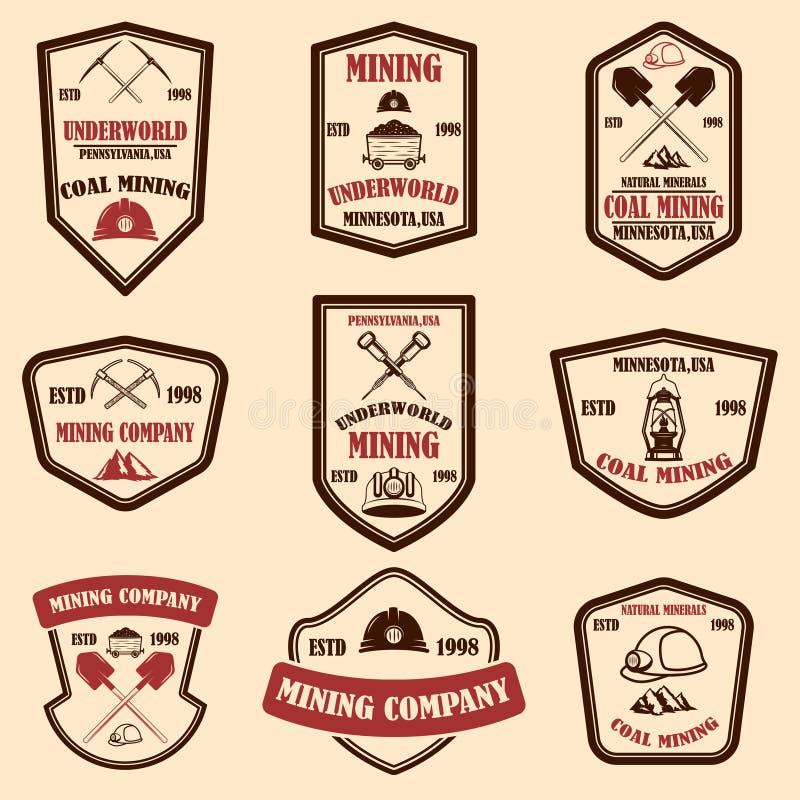 Установите шаблонов эмблемы горнодобывающей компании Элемент дизайна для логотипа, ярлыка, эмблемы, знака, значка стоковое изображение rf